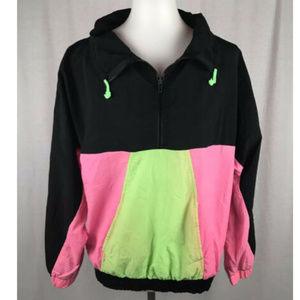 Vtg 80s Windbreaker Track Jacket Bright Neon M